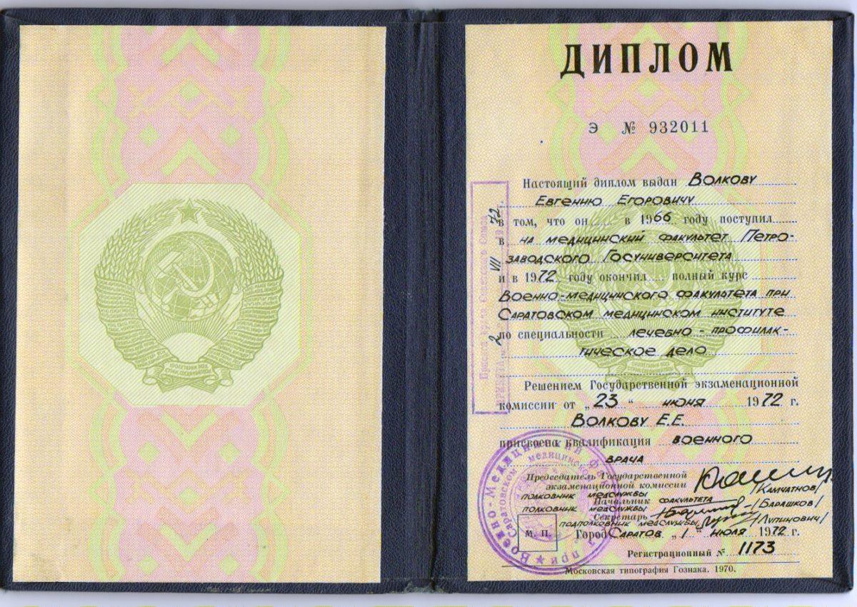 Диплом Воклвов Евгений Егорович